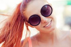 Young beautiful smiling redhead caucasian woman royalty free stock images