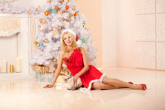 Young beautiful smiling santa woman near the Christmas tree with Royalty Free Stock Image