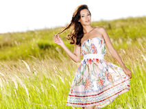 Young beautiful smiling woman outdoors Royalty Free Stock Images