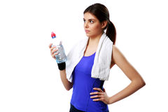 Young beautiful sport woman holding bottle with water Stock Photography