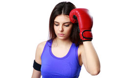 Young beautiful sport woman standing with boxing gloves Stock Photos
