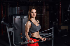 Young beautiful sportswoman doing exercises in the gym. Young beautiful sportswoman doing exercises in the gym with a barbell. Fitness concept background Royalty Free Stock Images