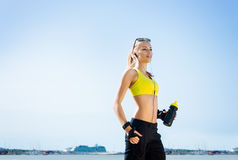 Young, beautiful, sporty and fit girl rollerblading on inline skates Royalty Free Stock Photos