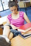 Young beautiful student in college Stock Photography