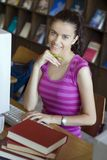 Young beautiful student in college Royalty Free Stock Photos