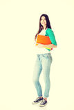 Young beautiful student with files, workbook. Stock Photo