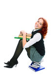Young beautiful student girl with books in hand Stock Photos