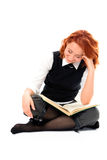 Young beautiful student girl read book Royalty Free Stock Images