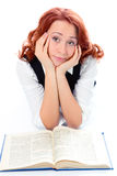 Young beautiful student girl read book Stock Photo