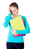 Young beautiful student woman with depression Royalty Free Stock Images