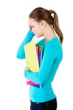 Young beautiful student woman with depression Royalty Free Stock Photos