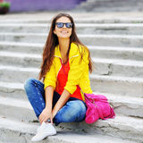 Young beautiful stylish girl outdoor fashion portrait Stock Photography