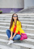 Young beautiful stylish girl portrait outdoor Stock Photo