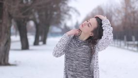 Young beautiful stylish girl posing stock footage