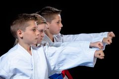 Young, beautiful, successful multi ethical karate kids in karate position. royalty free stock image