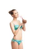 Young beautiful  summer girl drinking fresh Stock Photos