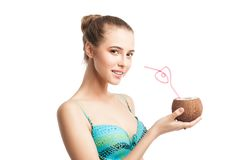 Young beautiful  summer girl holding fresh coconut Stock Image