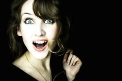 Young Beautiful Surprised Woman Stock Photo