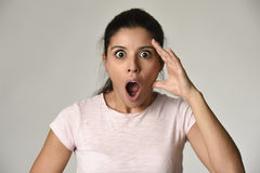 Young beautiful surprised woman amazed in shock and surprise with mouth big opened Stock Photography