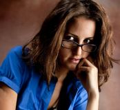 Young beautiful teacher wearing glasses Royalty Free Stock Photo