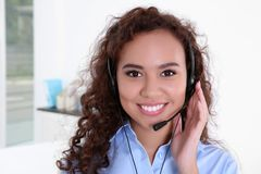 Young beautiful technical support dispatcher working, closeup royalty free stock photos
