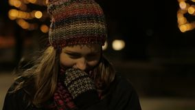 Young Beautiful Teen Girl Walking At Night In City Smiling. 4K UHD stock video footage