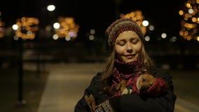 Young Beautiful Teen Girl Walking At Night In City Smiling. 4K UHD stock video