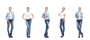 Young and beautiful teenage girl in denim jeans. Isolated on white. Set collection Stock Images