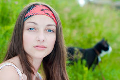 Young beautiful teenage girl portrait outdoors Stock Photo