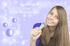 Young beautiful  teenage girl singing Royalty Free Stock Images