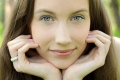 Young beautiful teenager closeup portrait. Closeup Stock Image