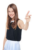 Young beautiful teenager girl showing gun sign isolated Royalty Free Stock Photo