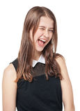Young beautiful teenager girl winking isolated Stock Photo