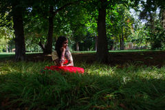 Young beautiful traditional indian woman in nature royalty free stock images