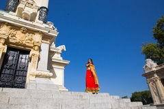 Young beautiful traditional indian woman standing outdoors Royalty Free Stock Photo