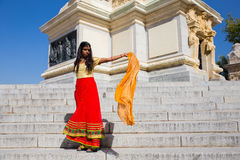 Young beautiful traditional indian woman standing outdoors royalty free stock photography