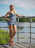Beautiful travelling woman at summer royalty free stock photo