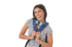 Young beautiful and trendy latin student girl carrying backpack smiling happy and confident Stock Photos