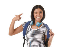 Young beautiful and trendy latin student girl carrying backpack smiling happy and confident Stock Image