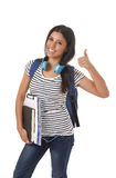 Young beautiful and trendy latin student girl carrying backpack smiling happy and confident Royalty Free Stock Photos
