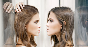 Young beautiful two women, collage Stock Image