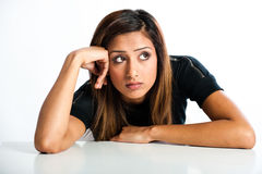 Young beautiful unhappy Asian Indian teenager royalty free stock photography