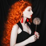 Young beautiful unusual redhead girl with curly hair on a black background. royalty free stock image