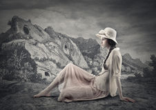 Young beautiful vintage woman. Black and white picture of a young woman wearing vintage cloths Royalty Free Stock Photo
