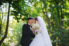Young beautiful wedding couple Royalty Free Stock Images