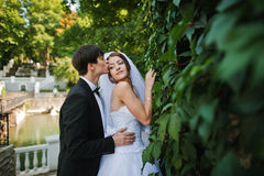 Young beautiful wedding couple at the wall Royalty Free Stock Photography