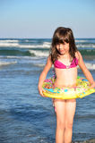 Young Beautiful white Girl with collar: Black Sea Stock Photography