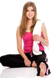 Young beautiful woman. During fitness time and exercising Stock Photos
