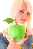 Young beautiful woman with apple isolated Royalty Free Stock Photo
