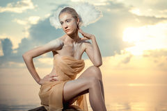 Young beautiful woman as swan Stock Image